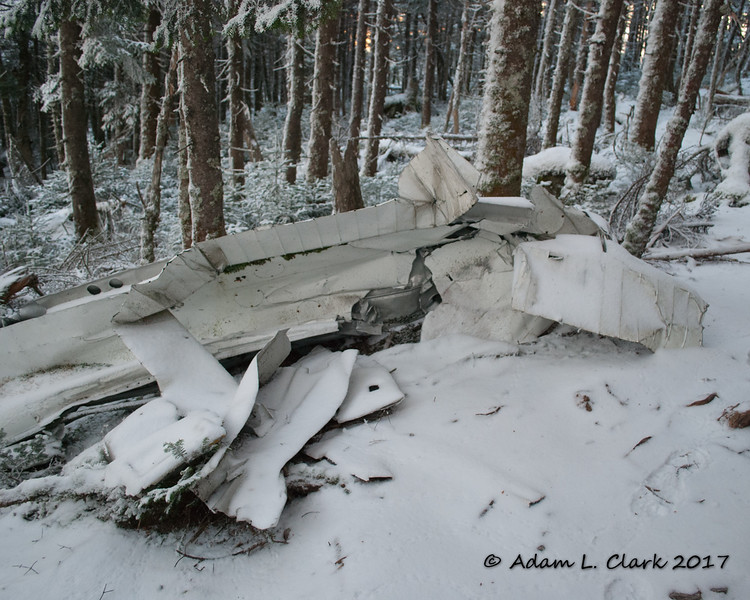 The plane is located just off trail a short distance north of the summit.  Here is one of the wings