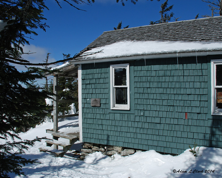 Cabot Cabin is a small cabin the sleeps 8 hikers.  It also provided me a nice place out of the wind to put on dry layers