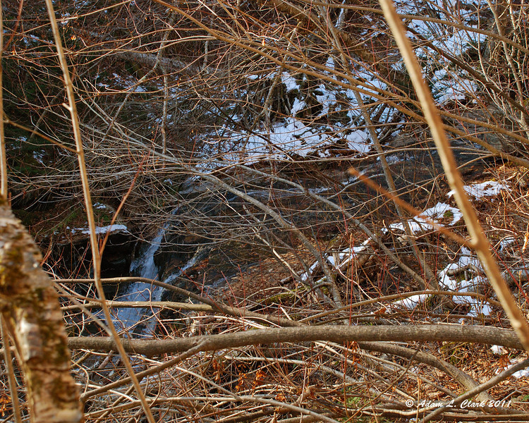 A small waterfall in the brook and snow on the Southern side of the ravine where it stays in the shade