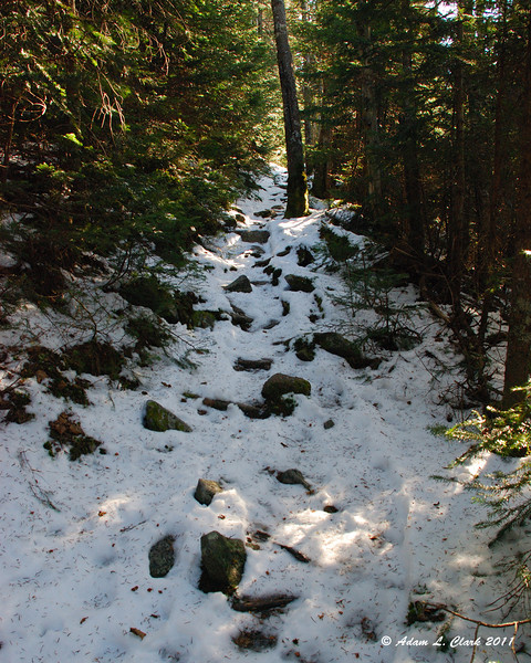 Heading up the trail with a full layer of snow now