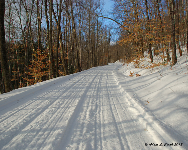 Sawyer River Rd groomed nice and smooth for snowmobiles