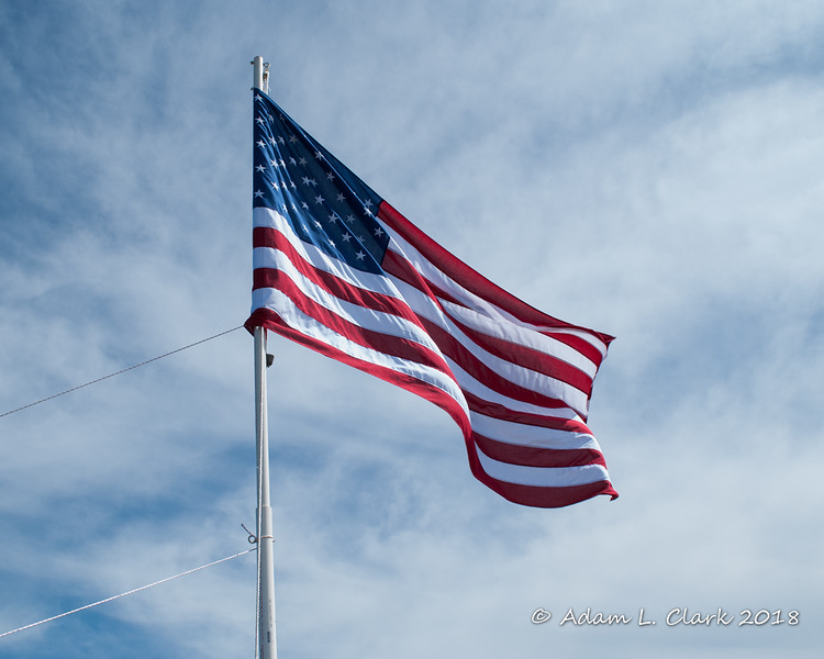 The flag flying just before being taken down at 2pm