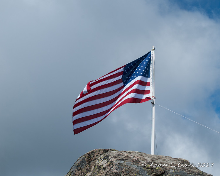 The flag flying at the summit