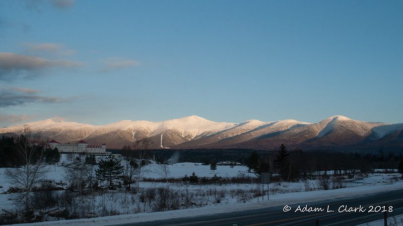 A parting view of the Presidential Range from a viewpoint on Route 302