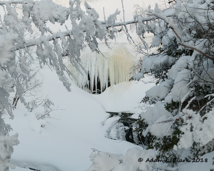 Looking up at some ice formed over the cascades