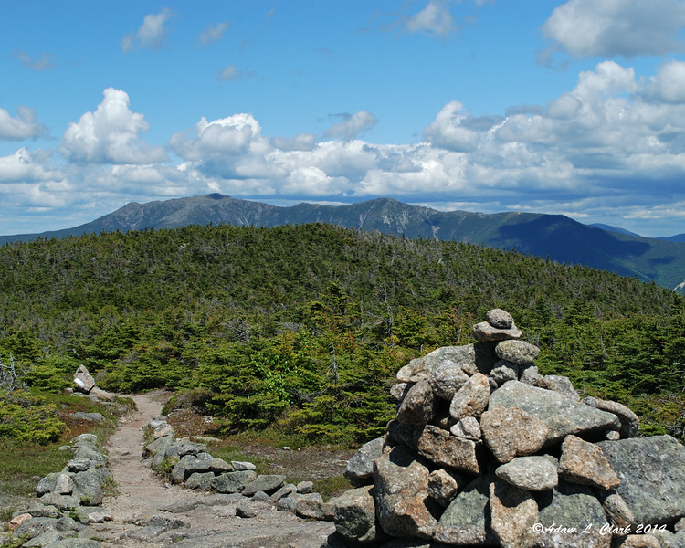 The top of Franconia Ridge can be seen from South Kinsman