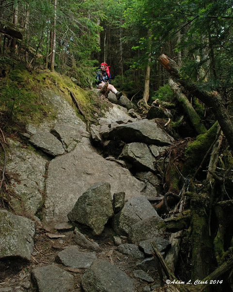 A rocky scramble on the way back to Lonesome Lake Hut