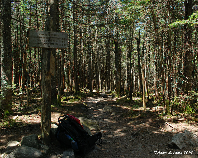 At the junction with the Kinsman Ridge Trail near the Kinsman Pond Shelter