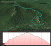 A Google Earth representation of the hike.  Starting out heading to the right, then up to the summit, and coming back down on the left