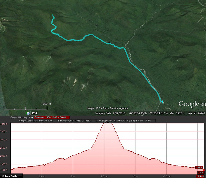 A Google Earth representation of the hike.  Out and back starting on the lower right