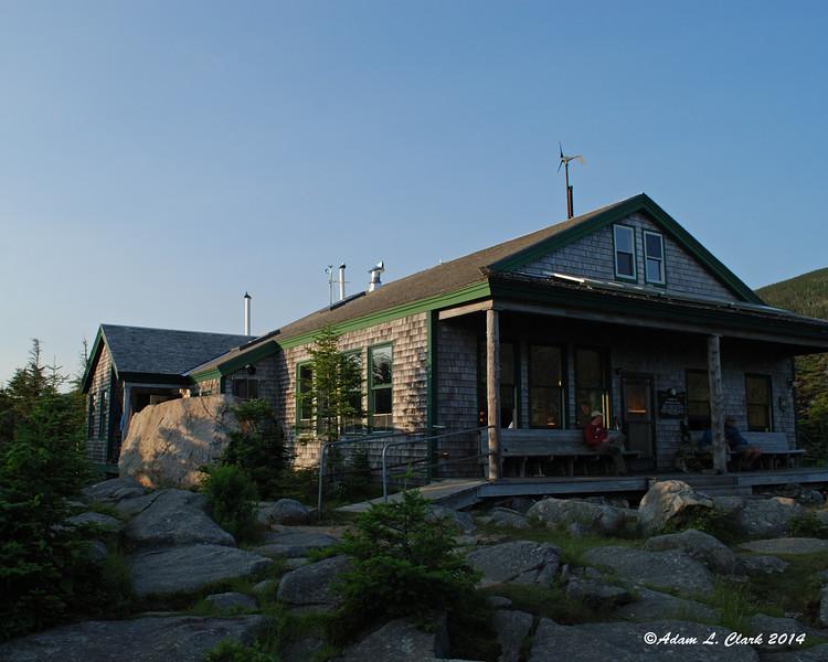 Sun setting on the hut