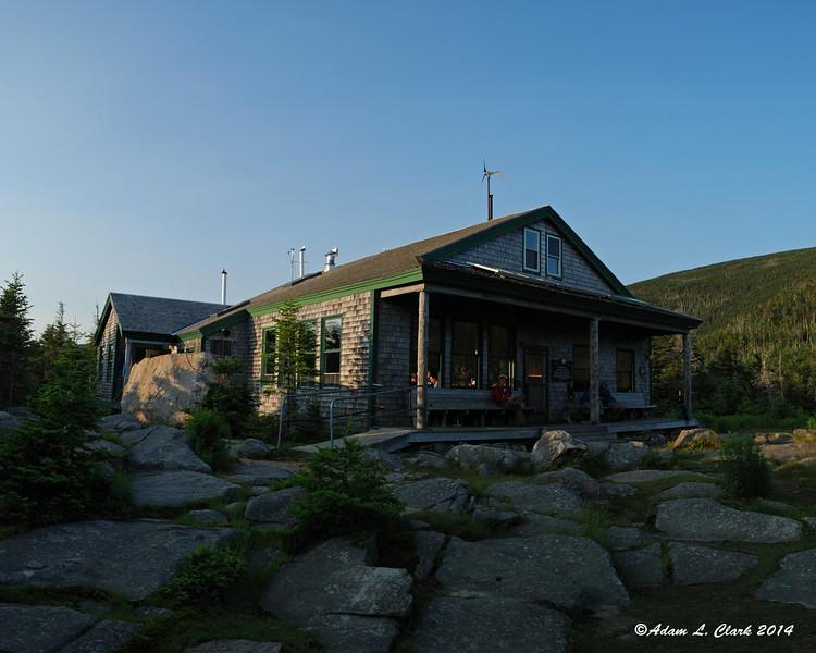 Galehead hut as the sun is setting