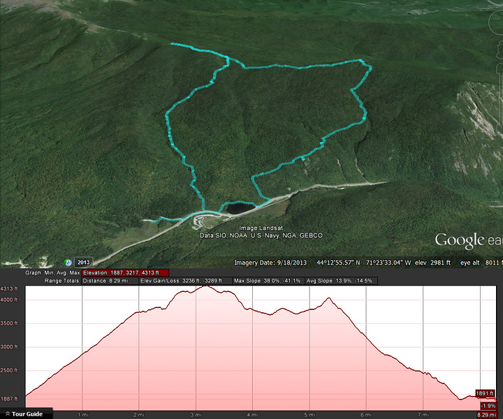 A Google Earth representation of the hike.  A clockwise loop