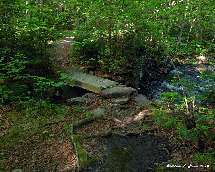 After coming down from the road crossing, the brook crossing is done on this handy metal bridge