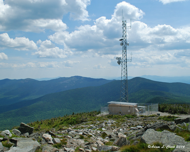 Mt. Abraham to the left of the tower and Spaulding Mountain to the right of the tower