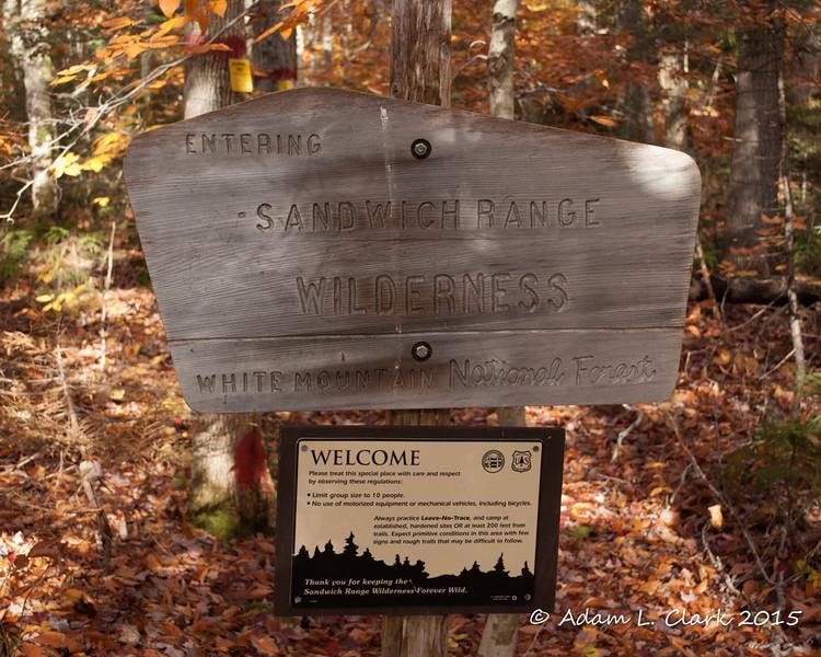 Sandwich Range Wilderness sign