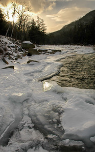 Icy River and Setting Sun, Conway, NH (2006-29)