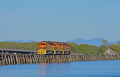 New England Central SD40M-2'S, East Alburgh, Vermont, May 18 2018.