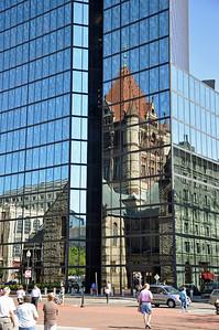 Reflection of Trinity Church in Boston, Ma