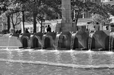 Fountains on the Trinity Church grounds in Boston, MA