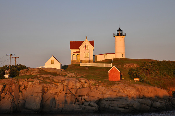 Nubble Lighthouse at Sunset in York, Maine.