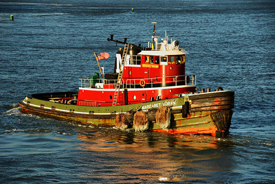 The Margaret Moran, tugboat that pushed and pulled the Caribbean Princess out of the dock and into the Hudson River.