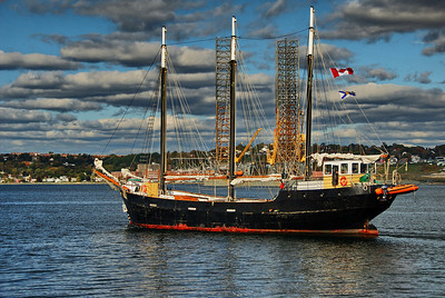 Standing on the Halifax Harbor Walk, this three mast ship came chugging by.  This photo is processed through High Dynamic Range software.