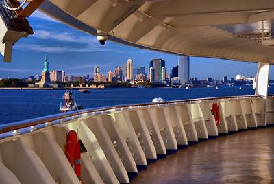 Promanade deck view of New York harbor