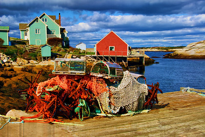 Lobster traps and nets, on the dock, Peggy's Cove, Halifax. Nova Scotia