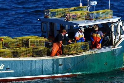 Lobster fishermen near Boston, MA setting traps