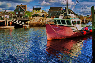 Peggy's Cove fishing boat and homes