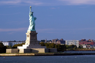 Statue of Liberty on Ellis Island in the Hudson River, New York