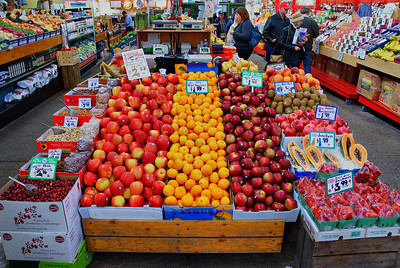 As you enter the City Market in Saint John, New Brunswick, this fruit stand greets you.