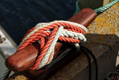 Knots on a dock side cleat in Dipper Harbour, Saint John, New Brunswick