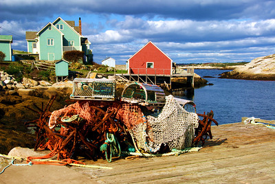 Lobster traps, nets, anchors in Peggy's Cove, St. Margaret's Bay Region, Nova Scotia