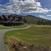 Sundary River Golf Club clubhouse and practice green in Newry, Maine USA