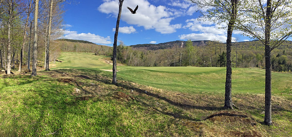 9th hole at Sunday River Golf Club in Newry, Maine with eagle flying