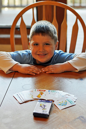 Jonah after an intense game of Go Fish!