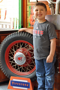 Jonah found an old firestone tire in the entrance of the Route 66 Restaurant.