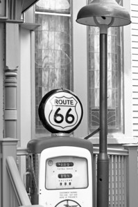 Gas pump outside of the Route 66 Restaurant.