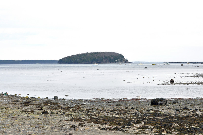 The view from Bar Island with another island in the distance.