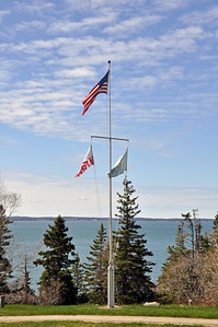 Flag mast at the Bass Harbor Head Lighthouse