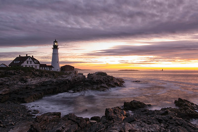 The many colors of sunrise at Portland Head Lighthouse in Portland Maine