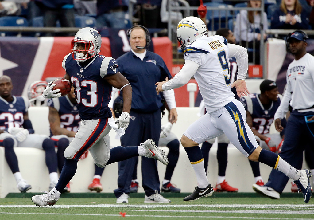 . New England Patriots running back Dion Lewis (33) returns the opening kickoff of the second half past Los Angeles Chargers kicker Nick Novak (9) during an NFL football game, Sunday, Oct. 29, 2017, in Foxborough, Mass. (AP Photo/Steven Senne)