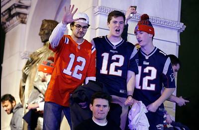 New England Patriots fans celebrate