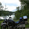 GS1200 ticks itself cool after a hard ride up through the White Mountains.