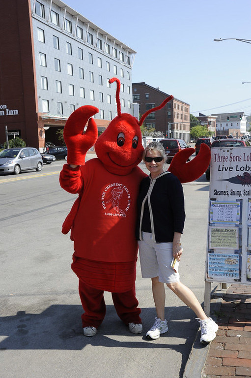 Martha and a Lobster down in the dock area in Portland