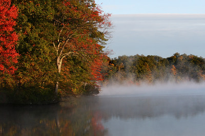 morning fog at Dug Pond, Natick, Ma