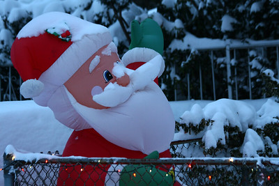 Santa with snow, Natick, Ma