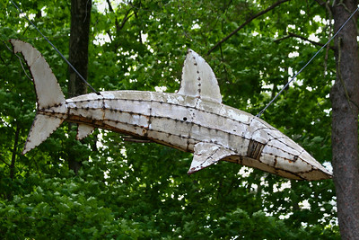 DeCordova Museum and Sculpture Park, Lincoln, MA Pine Sharks by Kitty Wales  http://decordova.com/decordova/sculp_park/wales.html#sharks